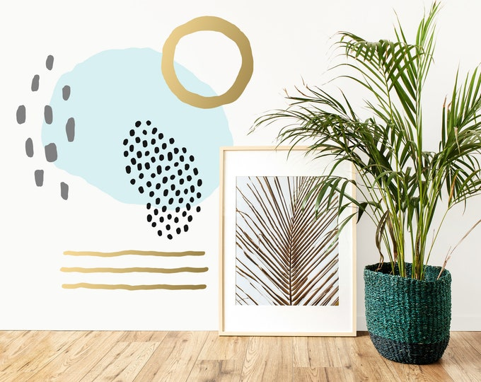 Abstract Geometric Wall Decals - Modern Wall Decor, Removable Wall Stickers, Modern Farmhouse Decor, Bedroom Wall Art