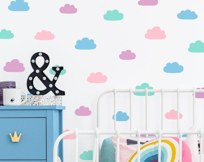 Cloud Wall Decals - Vinyl Wall Decals, 4-Color Cloud Decals, Nursery Wall Decals, Wall Stickers, Kids Bedroom Decals, Kids Room Wall Decor
