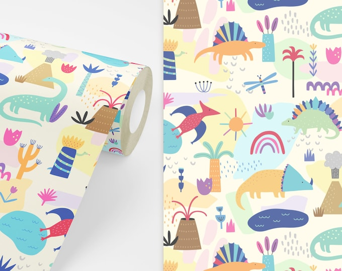 Dinosaur Wallpaper - Peel and Stick Removable Wallpaper, Rainbow Decor, Nursery Wall Art, Dinosaur Decor, Dinosaur Art for Kids Bedroom