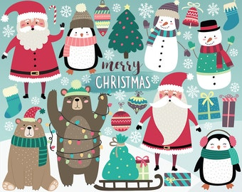 christmas clipart holiday clipart cute christmas clip art digital clipart christmas printables santa penguins snowman christmas diy