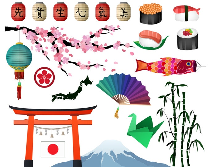 Japanese/Asian Clip Art- Set of 21 300 DPI JPG, PNG, and Vector Design Elements