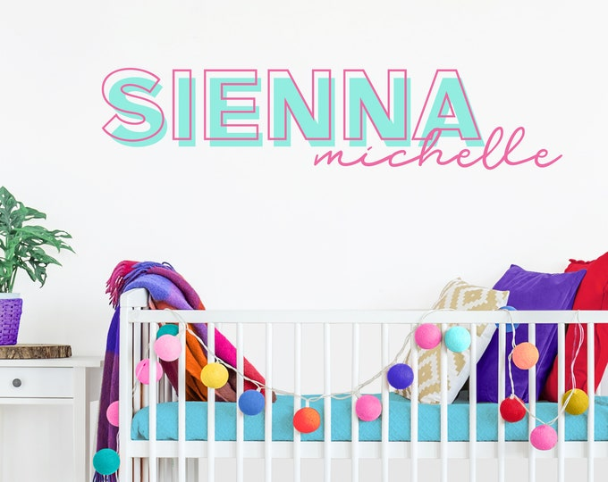 Custom Name Vinyl Decal, Personalized Name Wall Sticker, Neon Sign, Eighties Style Decor