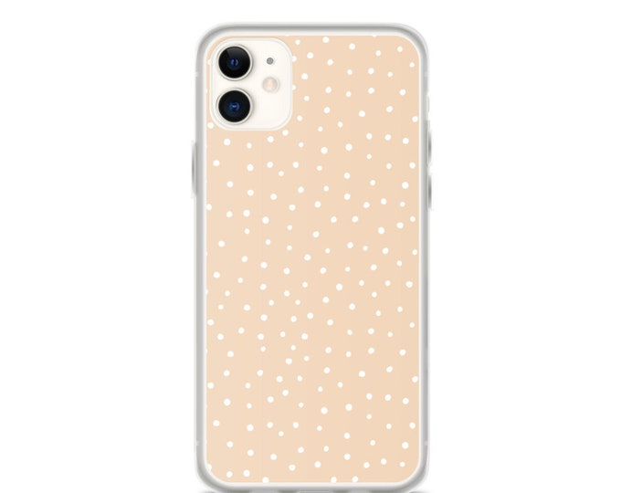 iPhone Case - Beige Polka Dot Phone Case, Minimal Boho Design