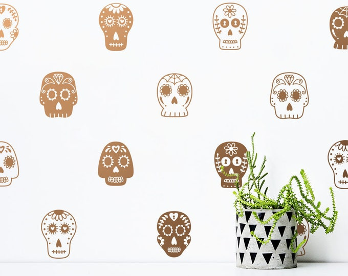 Sugar Skull Decals - Halloween Decor, Wall Decals, Wall Decor, Sugar Skull, Vinyl Decals, Nursery Decor, Wall Stickers