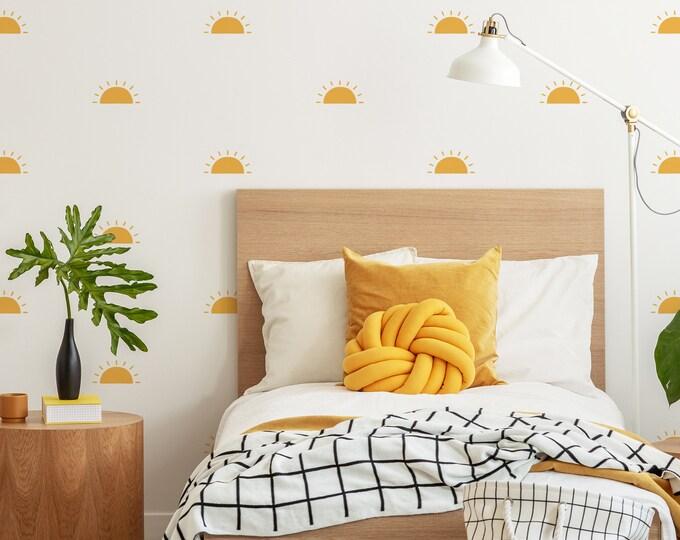 Half Sun Wall Decals - Sunshine Wall Stickers, Boho Nursery, Kids Room Wall Art, Playroom Decor
