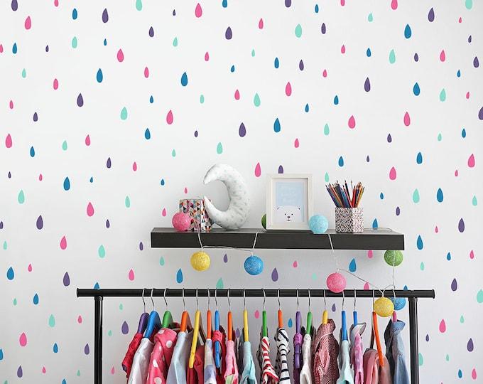 Raindrop Wall Decals - Vinyl Wall Decals, 4-Color Raindrop Decals, Rain Wall Decals, Wall Stickers, Kids Bedroom Decals, Nursery Decals