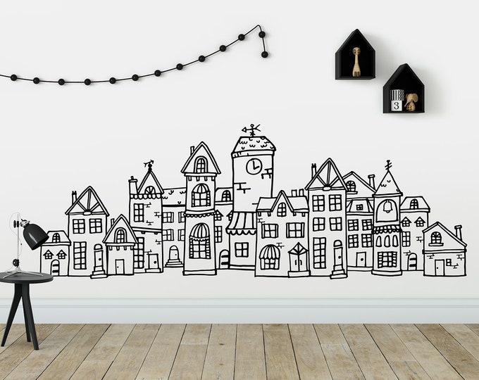 Scandinavian Style Cute Village Wall Decal - Hand Drawn Town Decal, City Decal, Scandi Nursery, Scandinavian Nursery Decal, Nordic Nursery