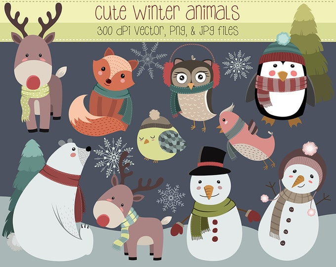 Cute Winter Animals and Design Elements Clip Art - Set of 15 300 DPI Vector, PNG, and JPG Files - Hand Drawn Unique Clipart Digital Download