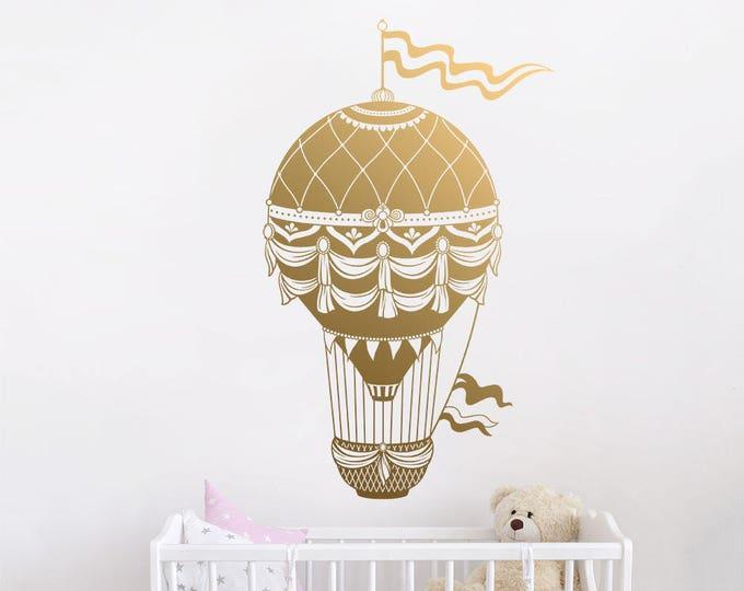 Hot Air Balloon Wall Decal - Hot Air Balloon Wall Decor, Balloon Wall Decal, Hot Air Balloon Nursery Decor, Nursery Wall Decal, Kids Decal