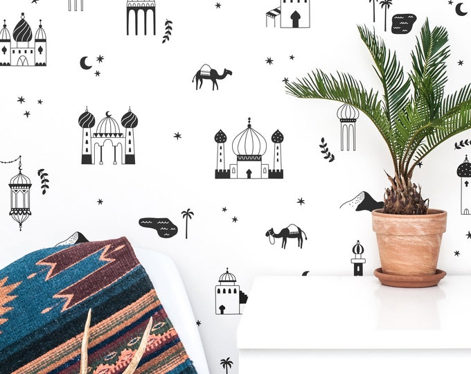 Arabian Village Wall Decals - Nursery Decals, Kids Room Decals, Desert Wall Decor, Nursery Decor, Kids Room Decor, Wall Stickers