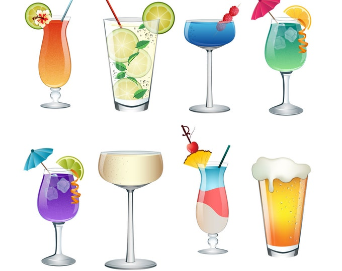 Cocktail, Summer Drinks Clip Art- Set of 8 Colorful PNG, JPG, and Vector Files