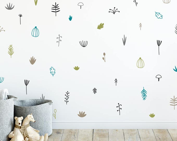 Woodland Wall Decals - Nursery Decals, 5-Color Wall Stickers, Vinyl Wall Decals, Kids Bedroom Decal, Floral Forest Decal, Kids Room Decor