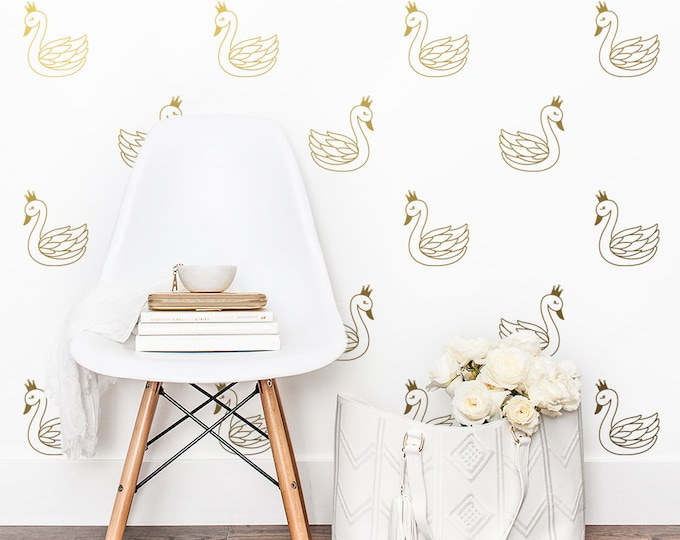 Swan Wall Decals - Nursery Decals, Wall Decor, Animal Decals, Kids Room Decor, Crown Decals, Wall Stickers, Baby Room, Nursery Wall Art