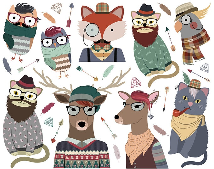 Hipster Animals Clipart - 300 DPI PNG & Vector Files - Set of 28 Cute, Original, Trendy Clip Art and Graphics