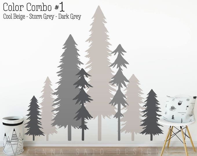 Large 3 Color Pine Tree Forest Wall Decals - Tree Wall Decals, Forest Mural, Forest Scene Decals, Large Wall Decals, Childrens Forest Decals