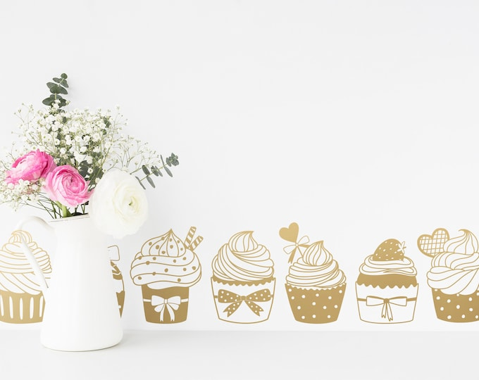 Cupcake Wall Decals - Bakery Decor, Girls Bedroom Wall Stickers, Nursery Wall Decor, Kids Room Removable Decals
