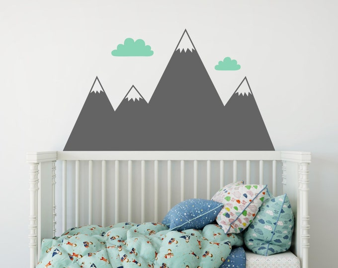 Mountain Wall Decal - Nursery Decal, Mountain Decals, Kids Room Decal, Woodland Nursery, Nursery Wall Decor, Cute Wall Sticker