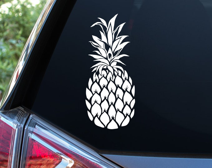 Pineapple Car Decal - Car Window Decal, Car Sticker, Unique Pineapple Decal, Gift for Her, Laptop Decal, Pineapple Sticker, Pineapple Gift