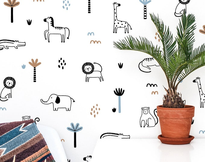 Jungle Animal Wall Decals - Safari Nursery Wall Art, Jungle Nursery Decor, Kids Room Wall Stickers, Tropical Jungle Wallpaper