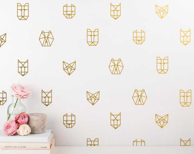 Geometric Animal Wall Decals - 30 Vinyl Wall Decals - Unique Wall Decal Set, Geometric Decals, Gold Decor, Wall Art, Wall Stickers
