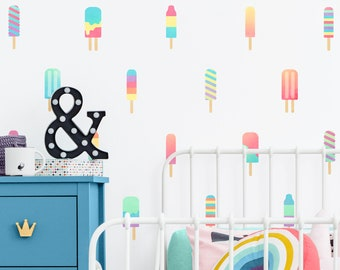 Popsicle Wall Decals   Watercolor Wall Decor, Reusable Wall Stickers,  Nursery Decor, Popsicle Decor, Nursery Wall Art, Kids Room Decor