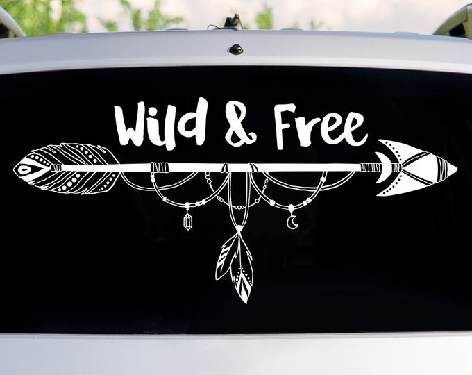Wild and Free Arrow Car Decal - Car Decals, Window Decal, Car Sticker, Adventure Decal, Wanderlust Decal, Boho Window Sticker, Gift for Her