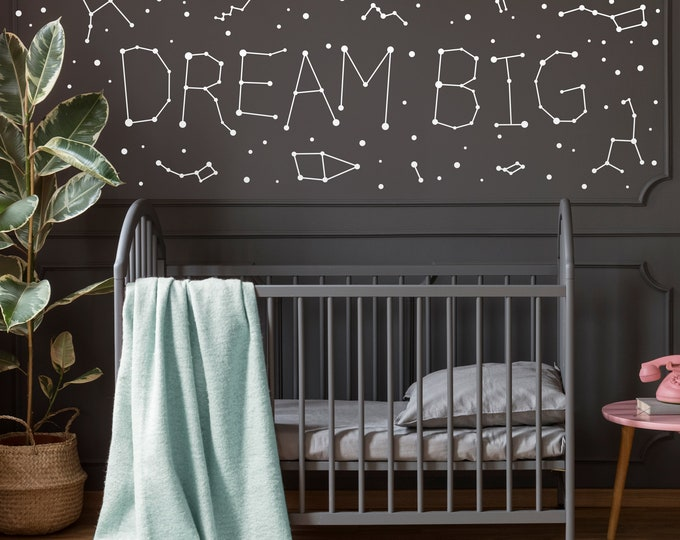 Dream Big Constellations Decal - Constellations Decor, Zodiac Gift, Star Decals, Zodiac Decor, Constellation Wall Art, Space Constellations