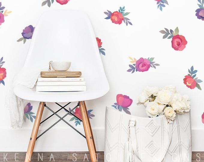 Watercolor Flower Wall Decals - Watercolor Floral Decals, Reusable Decals, Nursery Decor, Wall Decor, Kids Room Decor, Watercolor Wall Art