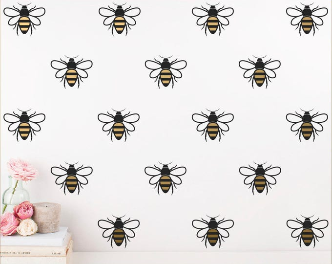 Bee Wall Decals, 2-Color Honey Bee Decals, Gold Bee Wall Decals, Honey Bee Wall Stickers, Modern Wall Decals