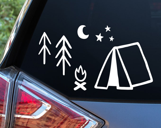 Camping Car Window Decals - Car Decals, Window Decals, Car Stickers, Adventure Decal, Car Window, Camping Stickers, Tree Decals, Star Decals