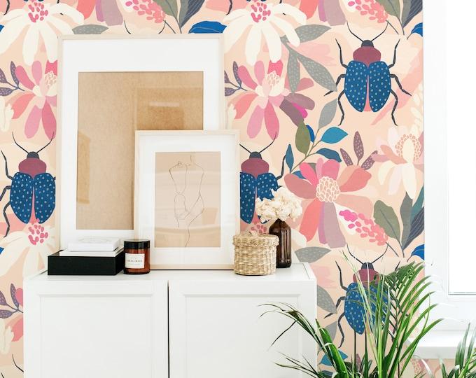 Floral Beetle Wallpaper - Peel and Stick Removable Wallpaper, Botanical Wall Art, Nursery Wallpaper, Beetle Wall Decor