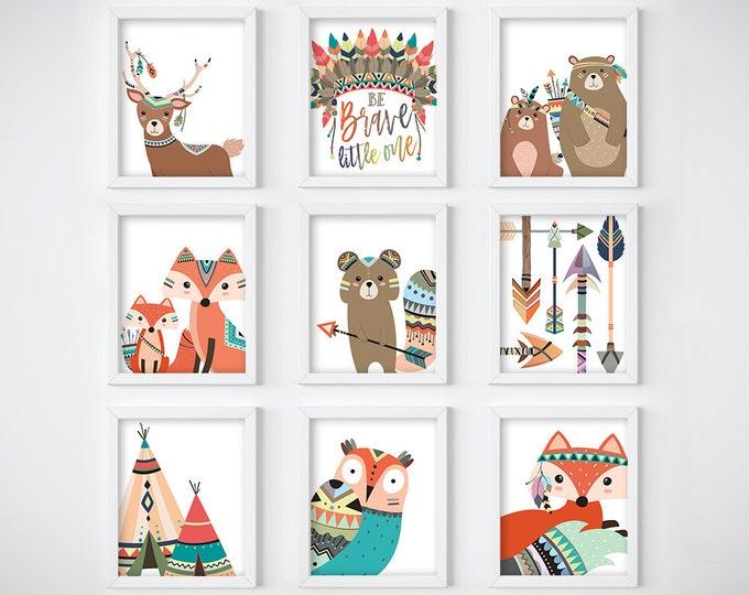 Wall Art Print - Tribal Animals Digital Print, Nursery Print, Printable Wall Art, Digital Download, Woodland Animals Art Print