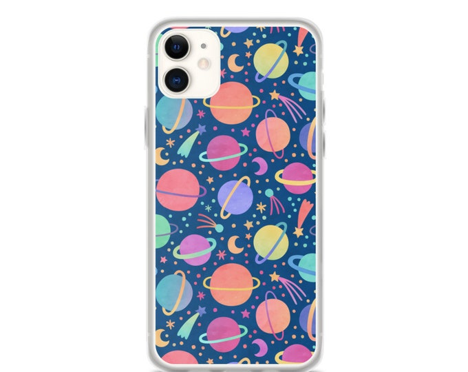 iPhone Case - Watercolor Rainbow Planets, Outer Space Themed Case for iPhones