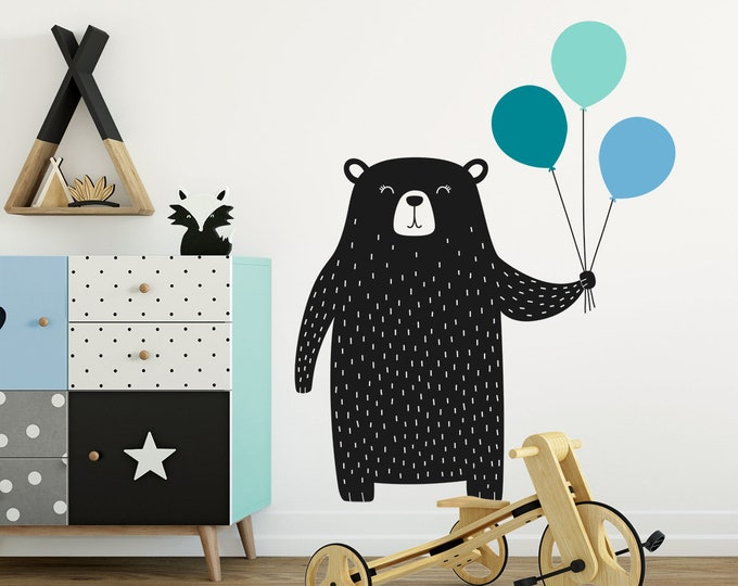 Bear Wall Decal - Nursery Decal, Vinyl Wall Decal, Cute Bear and Balloons Wall Decal, Multicolored Wall Decor