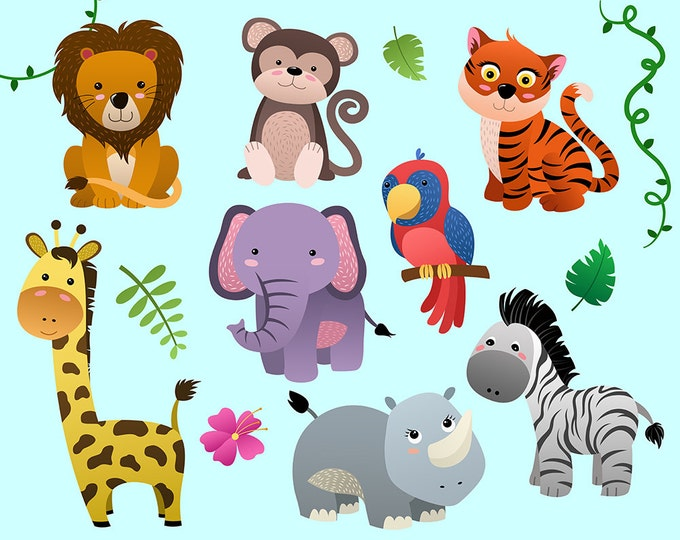 Cute Jungle Animals Clip Art - Set of 14 PNG, JPG, and Vector Files - Design Elements, Digital Clipart Download, Kid's Decorations