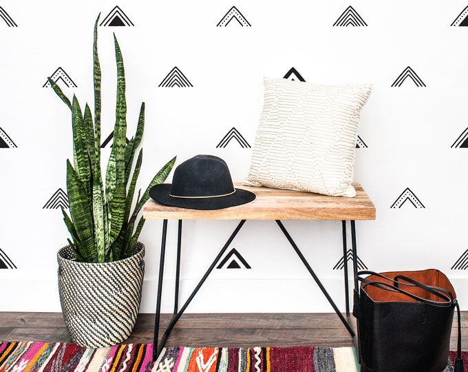 Geometric Triangle Wall Decal - Tribal Wall Art, Modern Farmhouse Wall Decor,  Removable Wall Sticker, Nursery Wall Decor