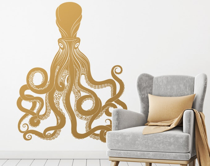 Large Octopus Wall Decal - Gold Vinyl Wall Decal, Silver Decals, Wall Stickers, Large Decals, Gold Decor, Wall Decor for Gifts and More!