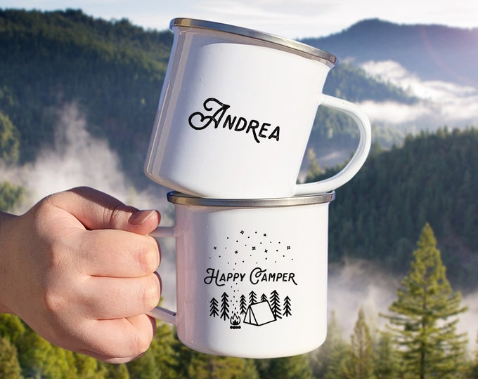 Personalized Camp Mug - Custom Name Mug, Personalized Mug, Camping Gift, Personalized Gift, Custom Gift, Happy Camper Mug, Adventure Gift