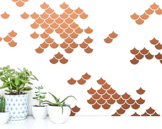 Mermaid Scale Wall Decals - Nursery Decals, Geometric Decals, Modern Wall Decals, Unique Wall Decor, Mermaid Decals