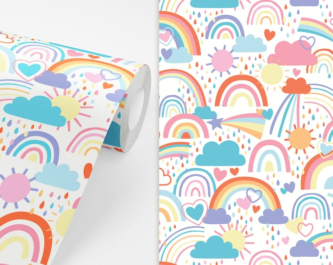 Rainbow Wallpaper - Peel and Stick Removable Wallpaper, Rainbow Home Decor, Nursery Wall Decor, Sunshine Wall Art, Kids Bedroom Wallpaper