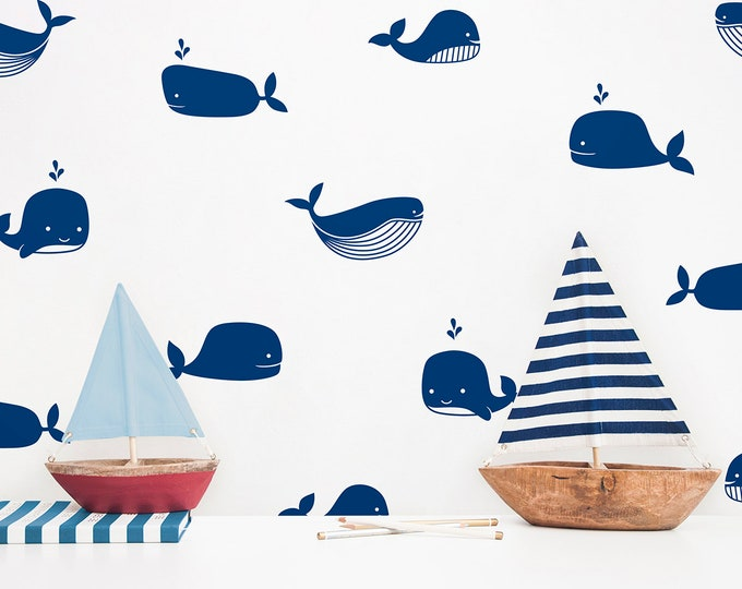 Whale Wall Decals - Nursery Decals, Kids Room Decals, Nursery Decor, Wall Decor, Nautical Decor, Whale Stickers, Boys Room, Girls Room, Gift