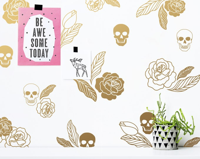 Skulls and Roses Wall Decals - Halloween Decor, Modern Vinyl Decals, Leaf Decals, Gold Wall Decals, Floral Wall Stickers, Skull Decals