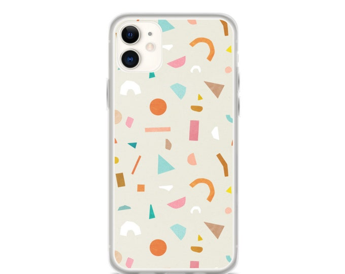 iPhone Case - Terrazzo Pattern Phone Case for iPhones, Minimal Geometric Design