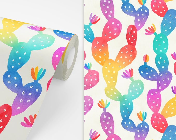 Rainbow Watercolor Cactus Wallpaper - Peel and Stick Removable Wallpaper, Kids Room Decor, Nursery Wall Art