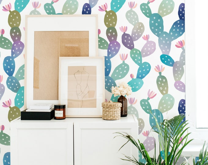 Watercolor Cactus Wallpaper - Peel and Stick Removable Wallpaper, Kids Room Wall Decor, Succulent Decor, Nursery Wall Art