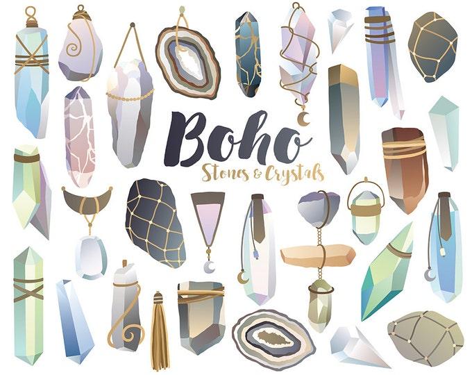 Boho Crystals Clipart - Unique Crystal Clip Art, Stones and Minerals Digital Print, Boho Style, Vector Clipart Download