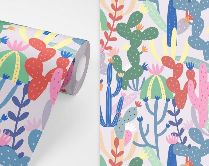 Cactus Wallpaper - Peel and Stick Removable Wallpaper, Kids Room Wall Decor, Succulent Wallpaper, Nursery Wall Art, Cactus Decor