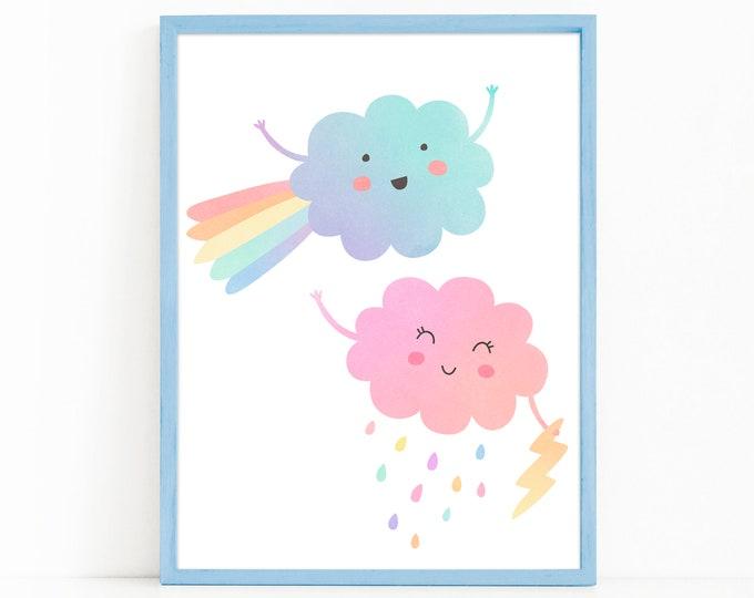 Rainbow Clouds Art Print - Nursery Art, Watercolor Wall Art, Wall Decor, Kids Art Print, Kids Bedroom Decor