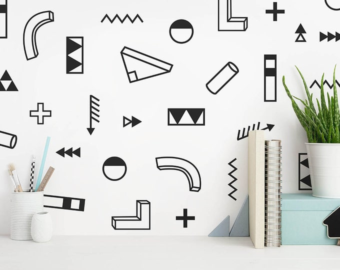 Modern Abstract Wall Decals - Geometric Decals, Vinyl Wall Decals, Modern Wall Decals, Unique Wall Stickers