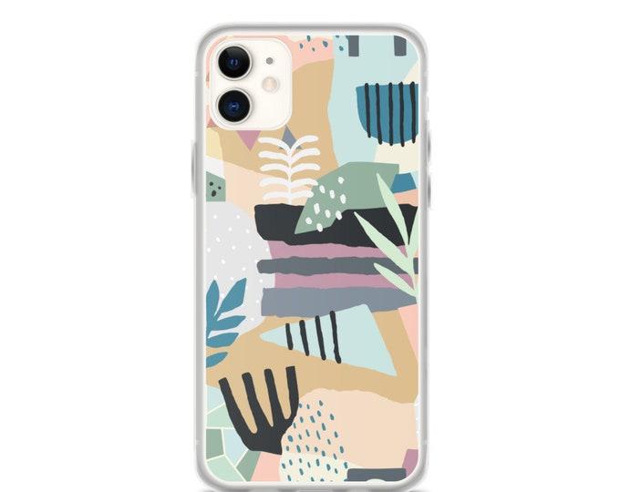 iPhone Case - Geometric Floral Pattern Phone Case, Modern Minimal Design